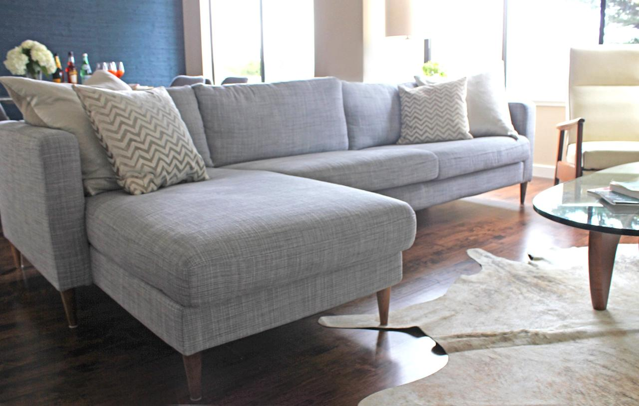 "<p>Take <a rel=""nofollow"" href=""https://www.popsugar.com/home/Ikea-Couch-Hack-34767012"">this Ikea sofa makeover</a> for instance. All you need to do is replace the original legs with new ones for a more expensive, midcentury look. </p>"