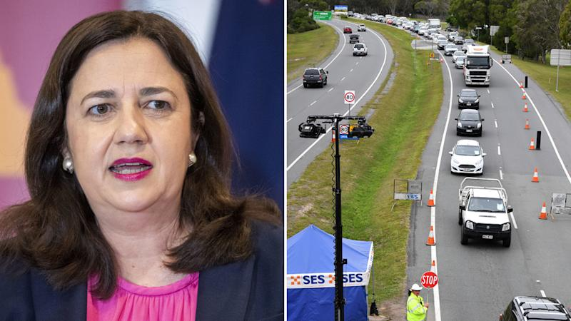 Queensland Premier Annastacia Palaszczuk is pictured on the left. On the right is a photo of a border checkpoint.