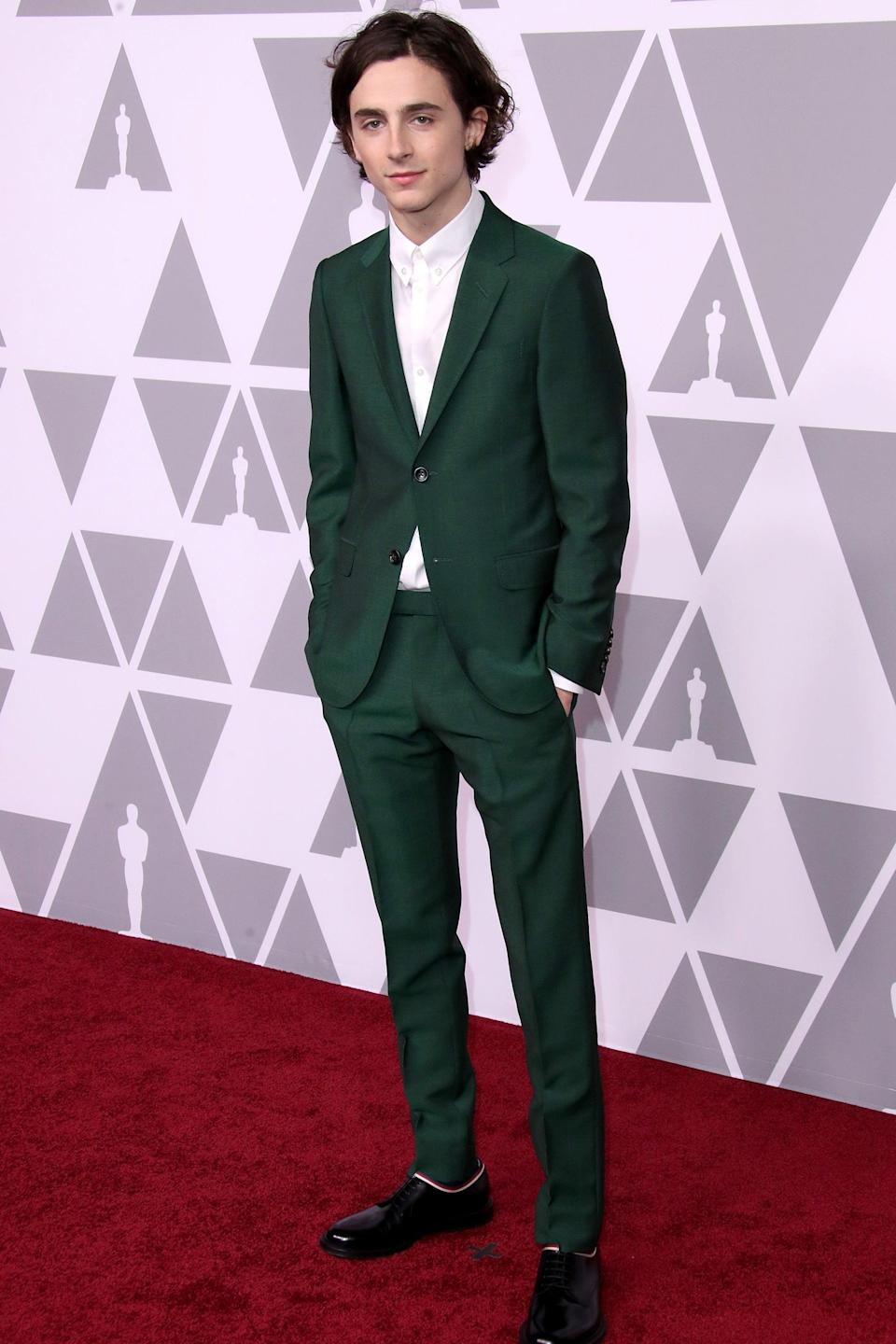 "<h2>Gucci</h2><br>We'll never get tired of seeing Timothée Chalamet in Gucci. <span class=""copyright""> Photo: Dan MacMedan/Getty Images.</span>"