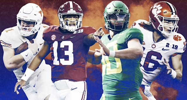 Will one of these quarterbacks be hoisting the Heisman Trophy later this season? (Yahoo Sports illustration)