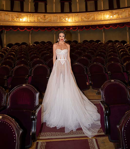 The full gown shows a little more than is customary for a bride on her big day. Photo: Dimitrius Dalia