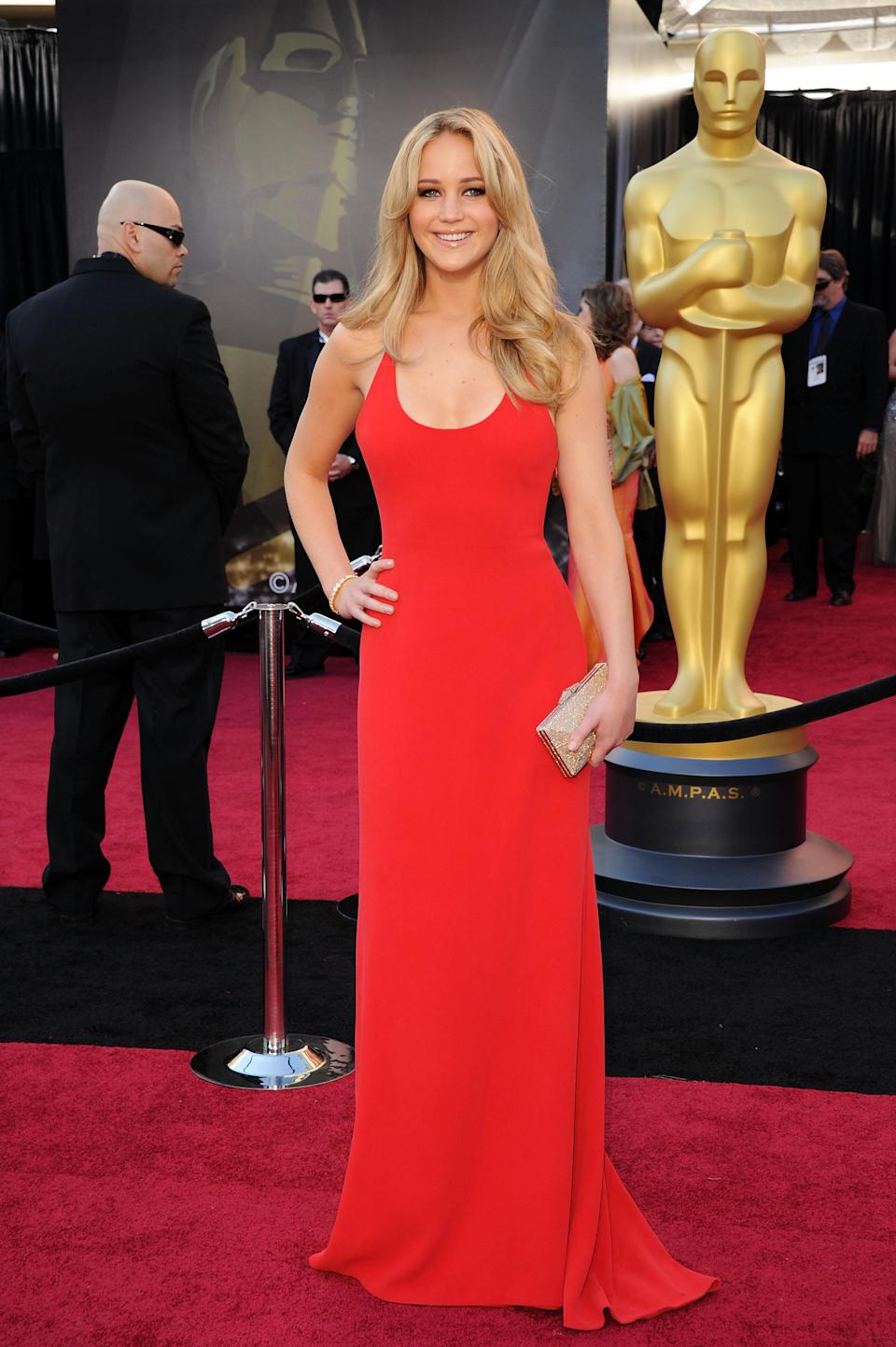 For her first spin on the Oscars red carpet in 2011, Jennifer Lawrence channelled a 00s supermodel in her form-fitting red gown. Completely fuss-free, it proved that sometimes less is far more.