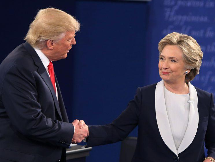 Hillary Clinton and Donald Trump shake hands after the second presidential debate, in St. Louis, Mo., on Oct. 9, 2016. (Photo: Tasos Katopodis/AFP/Getty Images)