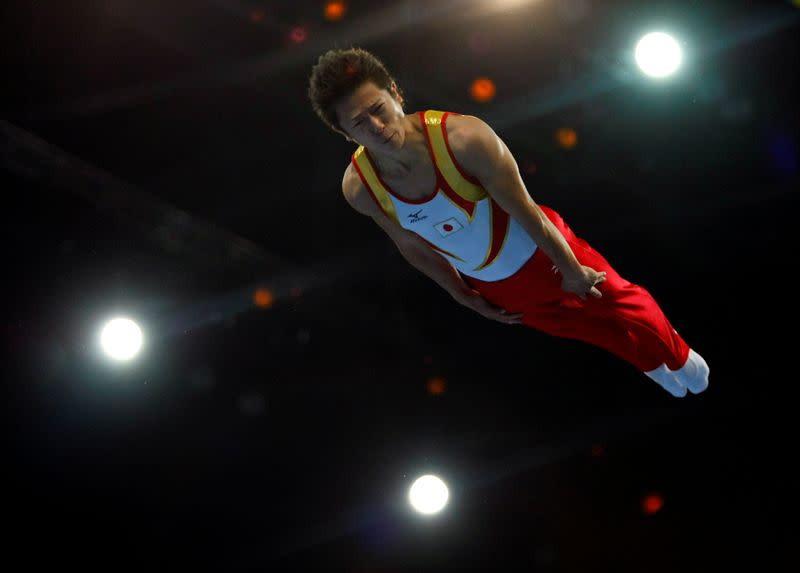 FILE PHOTO :Tetsuya Sotomura of Japan competes in the men's trampoline competition at the Beijing 2008 Olympic Games