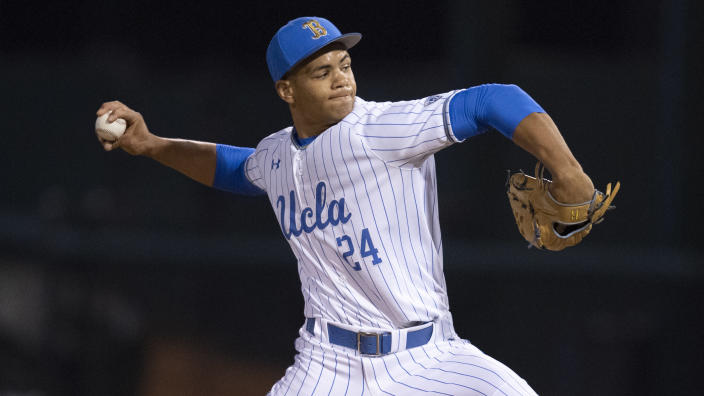 FILE - UCLA pitcher Zach Pettway throws against St. Mary's during an NCAA baseball game in Los Angeles, in this Friday, Feb. 21, 2020, file photo. Pettway had 29 strikeouts against one walk and returns as the Friday night starter. (AP Photo/Kyusung Gong, File)