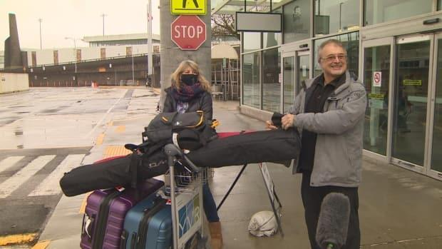 'Its nice to be on the West Coast,' said this man after arriving at YVR from Quebec. 'Wear the masks where necessary, keep your distance and do it safely,' he said.