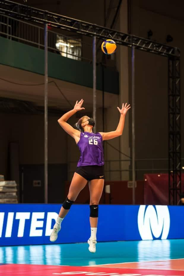 Canada's Brie King is seen above at a practice for the upcoming Athletes Unlimited volleyball season. (Athletes Unlimited - image credit)