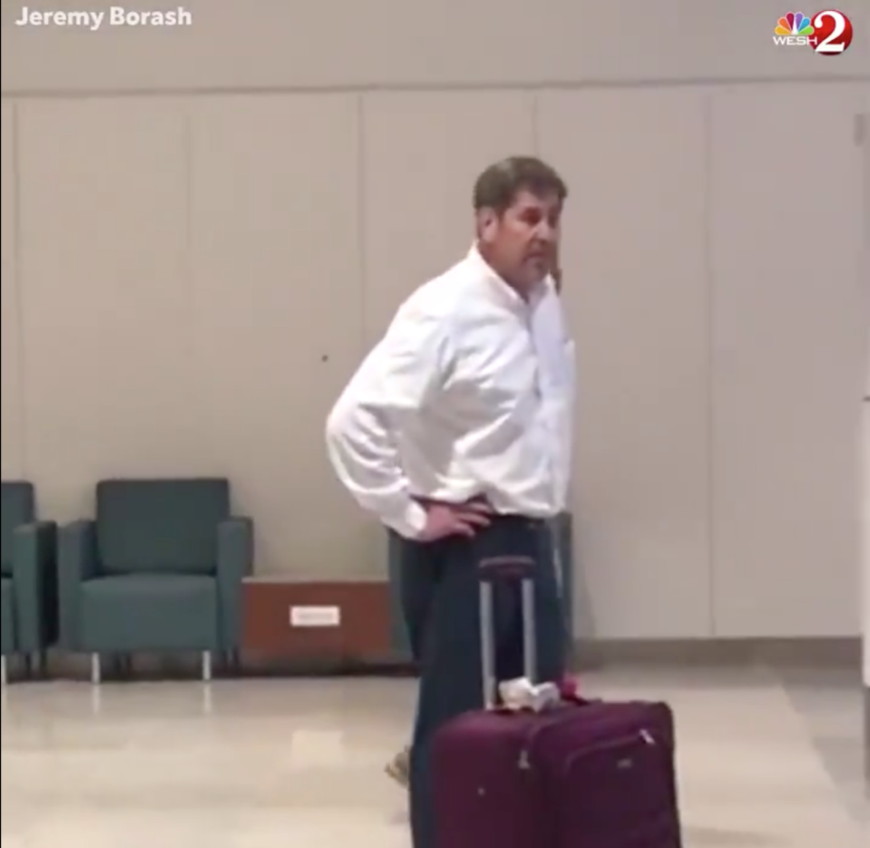 Dr. Jeffrey Epstein, a physician in Lakeland, Florida, was caught on a viral video yelling at police officers at an Orlando airport before he was arrested. (Photo: Jeremy Borash/WESH 2)
