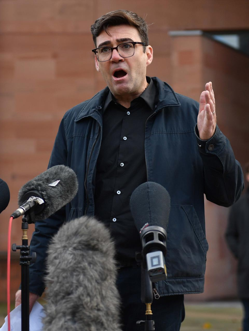 Greater Manchester mayor Andy Burnham speaking to the media outside Bridgewater Hall, Manchester, following last-ditch talks with the prime minister aimed at securing additional financial support for his consent on new coronavirus restrictions (Photo: Jacob King - PA Images via Getty Images)