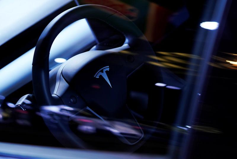 A Tesla Model S steering wheel is on display at the Canadian International AutoShow in Toronto