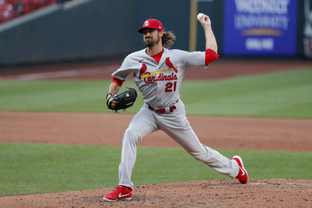 St. Louis Cardinals pitcher Andrew Miller throws during an intrasquad practice baseball game at Busch Stadium Thursday, July 9, 2020, in St. Louis. (AP Photo/Jeff Roberson)