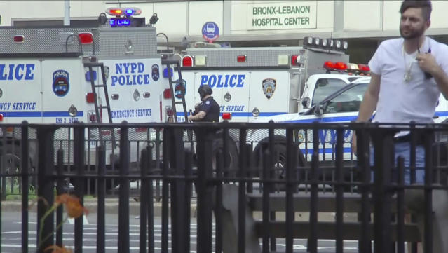 <p>In this image taken from video, emergency personnel converge on Bronx Lebanon Hospital in New York, after a gunman opened fire there on Friday, June 30, 2017. (AP Photo/Joseph Frederick) </p>