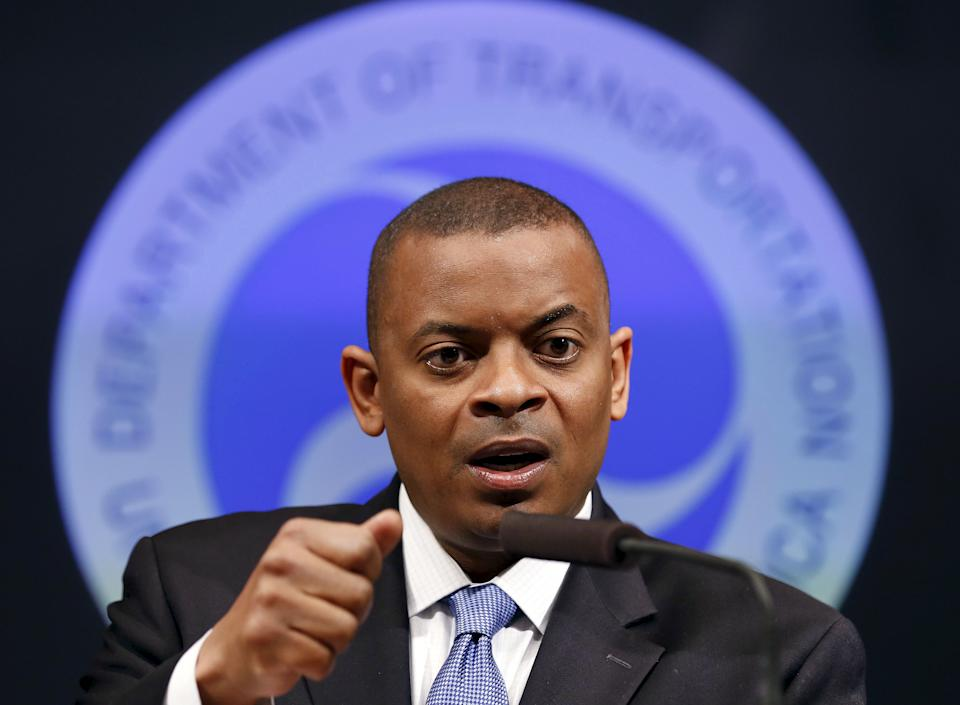 U.S. Transportation Secretary Anthony Foxx delivers an announcement at the Department of Transportation in Washington, U.S., May 16, 2014. To match Special Report AUTOS-DRIVERLESS/  REUTERS/Larry Downing/File Photo