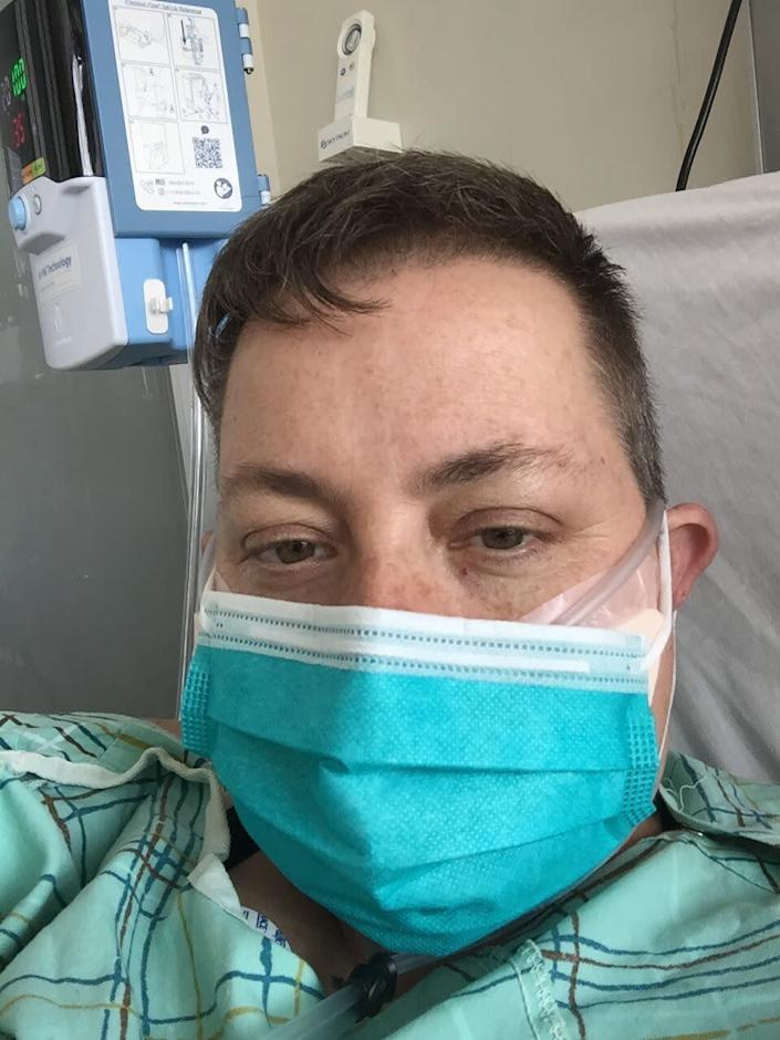"""""""Some patients find this a little windy,"""" explained the respiratory therapist about the high flow nasal cannula, """"or maybe like you have a garden hose up your nose."""" (Photo: Courtesy of Kelli Dunham)"""