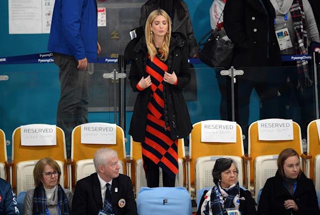 <p>Ivanka Trump (red and black dress) arrives to watch the Men's Gold Medal Curling match between Sweden and United States of America at Gangneung Curling Centre on February 24, 2018 in Gangneung, South Korea. Ivanka Trump is on a four-day visit to South Korea to attend the closing ceremony of the PyeongChang Winter Olympics. (Photo by Carl Court/Getty Images) </p>