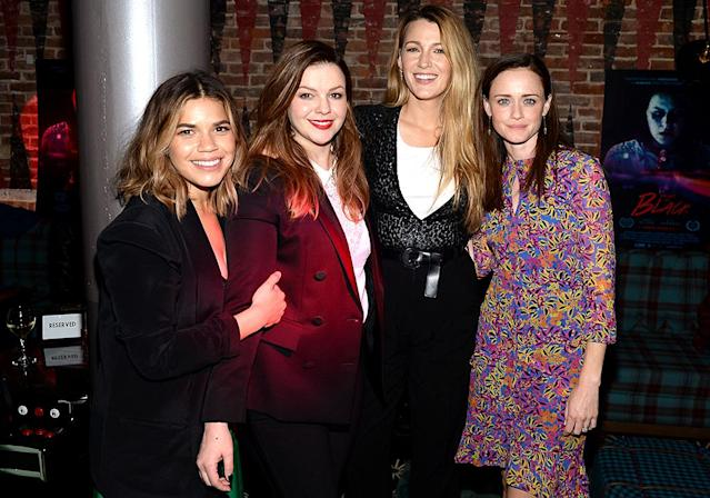 <p>The <i>Sisterhood of the Traveling Pants</i> stars reunited at the after-party for the NYC premiere of the movie <i>Paint It Black</i>. The drama is Tamblyn's directorial debut — and of course her sisters were by her side. (Photo: Andrew Toth/Getty Images) </p>