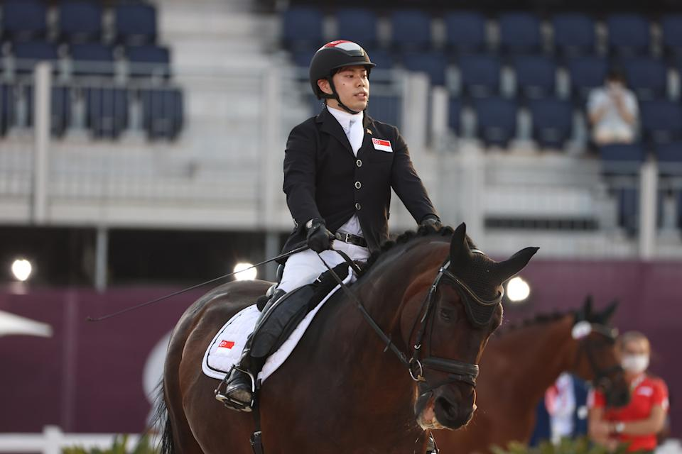 Singapore para-equestrienne Maxmillian Tan riding his horse Don's Day Dream in the dressage individual test (Grade II) competition at the 2020 Tokyo Paralympics. (PHOTO: Sport Singapore)