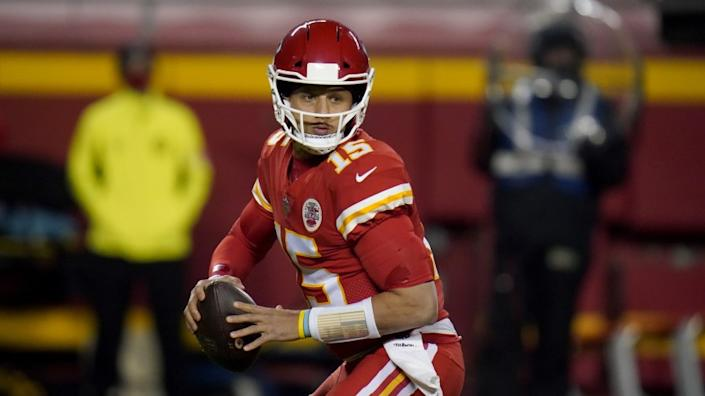 Kansas City Chiefs quarterback Patrick Mahomes drops back to pass during the first half of an NFL football game against the Denver Broncos Sunday, Dec. 6, 2020, in Kansas City, Mo. (AP Photo/Jeff Roberson)