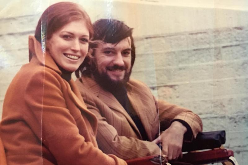 Katy and John Woodroffe, in a wheelchair, at the Ashes at Lord's Cricket Ground in 1972 after the accident: John Woodroffe