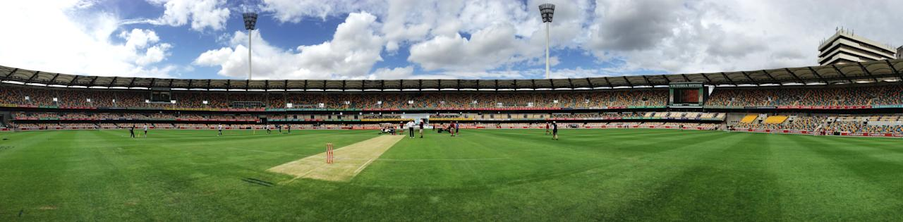 BRISBANE, AUSTRALIA - NOVEMBER 11:  (EDITORS NOTE: Image was created using a Panoramic feature on an iPhone camera.) A general view of the ground before day three of the First Test match between Australia and South Africa at The Gabba on November 11, 2012 in Brisbane, Australia.  (Photo by Ryan Pierse/Getty Images)