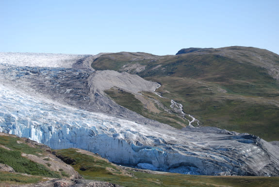 Russell Glacier, a tongue of the Greenland Ice Sheet, fills a tundra valley near Kangerlussuaq.