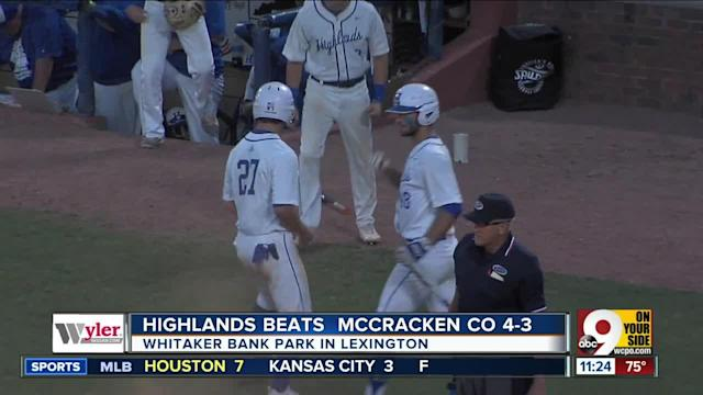 Kentucky's Mr. Baseball, Drew Rom, pitched Highlands into the state baseball championship game Friday night. McCracken County scored 30 runs in its first two tournament games, but Rom, the Baltimore Orioles' fourth-round draft pick, and reliever Grady Cramer held them mostly in check so the Bluebirds could advance with a 4-3 victory. Highlands will face Louisville St. Xavier, the top-ranked team in the state and the No. 8 team in the nation, at 7 p.m. Saturday at Whitaker Bank Ballpark.