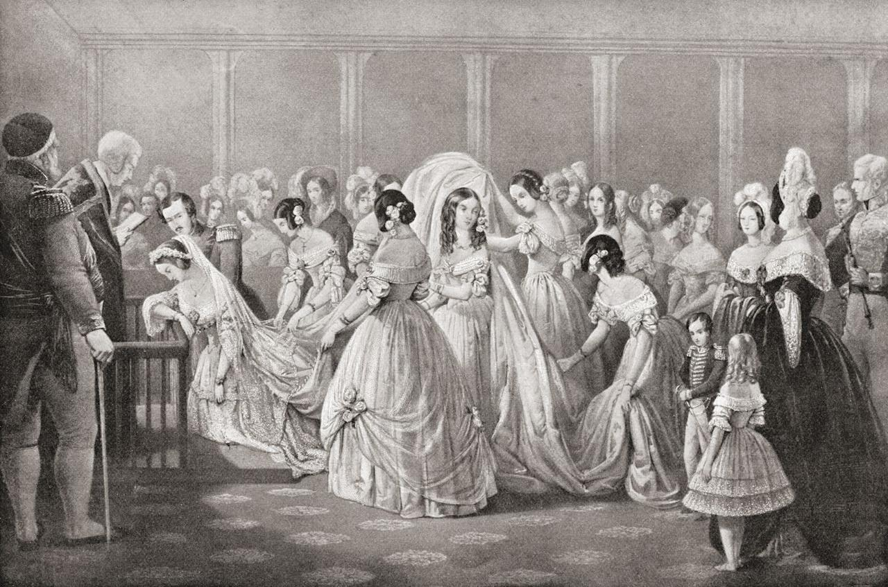 """<p>If you were a fan of Meghan Markle or Kate Middleton's wedding dresses, you <em>kind of </em>have Queen Victoria to thank. The British monarchy <a href=""""https://www.biography.com/royalty/queen-victoria"""" target=""""_blank"""">started the tradition of brides wearing white</a> on their wedding day when she married Prince Albert. Before then, women didn't wear one set color.</p>"""