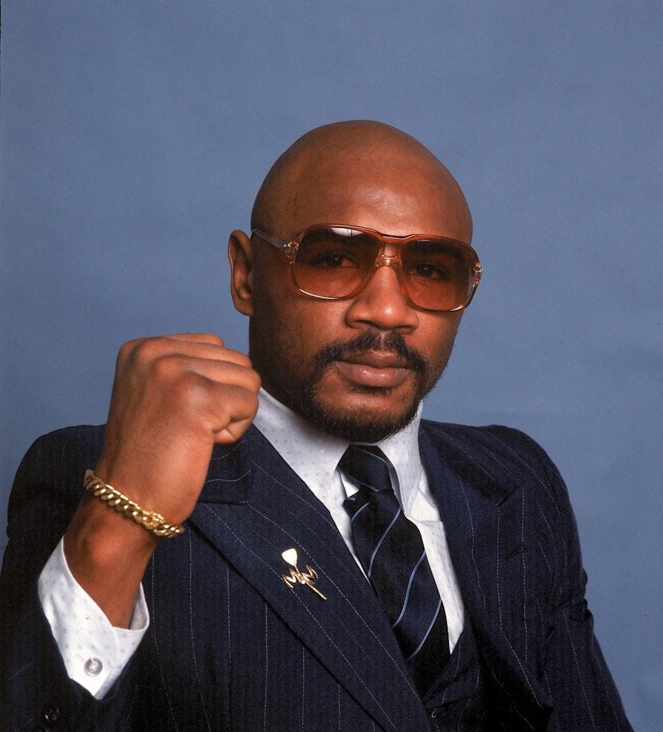 """In this 1982 file photo, middleweight boxing great Marvin Hagler's title reign ended with a split-decision loss to """"Sugar"""" Ray Leonard in 1987."""