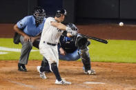 New York Yankees' Brett Gardner hits a two-run home run during the fourth inning during the fourth inning of a baseball game against the Toronto Blue Jays Thursday, Sept. 17, 2020, in New York. The Yankees won 13-2. (AP Photo/Frank Franklin II)