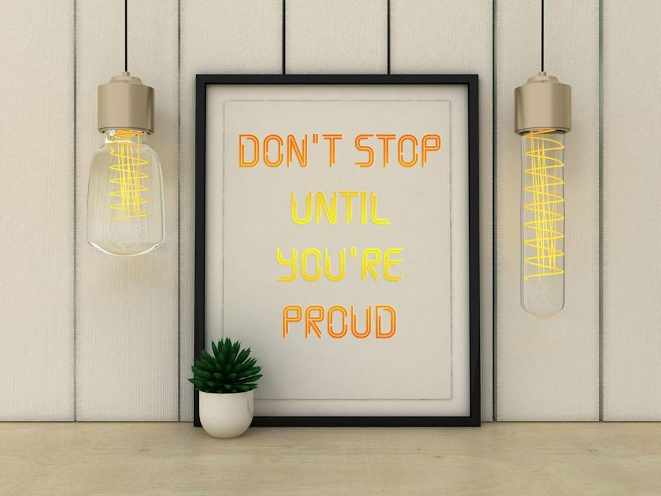 """<p>""""Declutter your workout area and hang up motivating pictures and inspiring quotes to help you stay motivated and focused,"""" says DiDio<em>.</em></p>"""