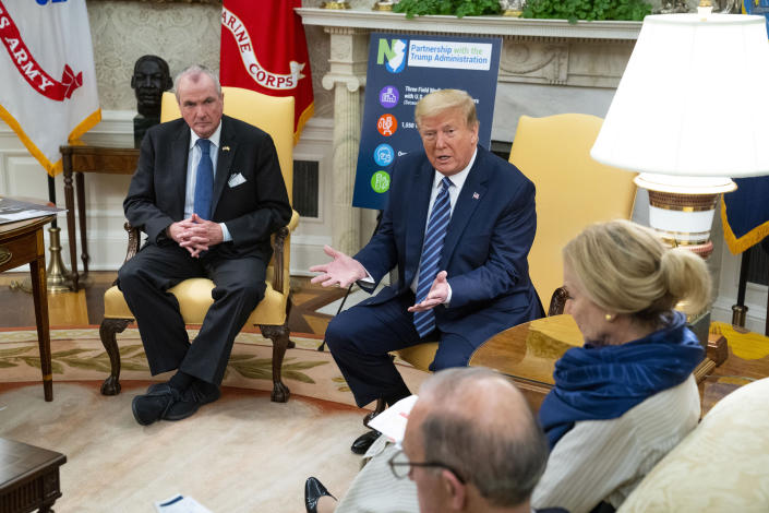 President Donald Trump meets with New Jersey Gov. Phil Murphy to discuss the coronavirus, at the White House in Washington, April 30, 2020. (Doug Mills/The New York Times)