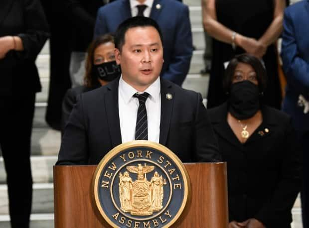 New York Assemblyman Ron Kim, shown during a media briefing in Albany, N.Y., says Cuomo vowed to 'destroy' him during a private phone call for criticizing his handling of COVID-19 outbreaks at nursing homes.