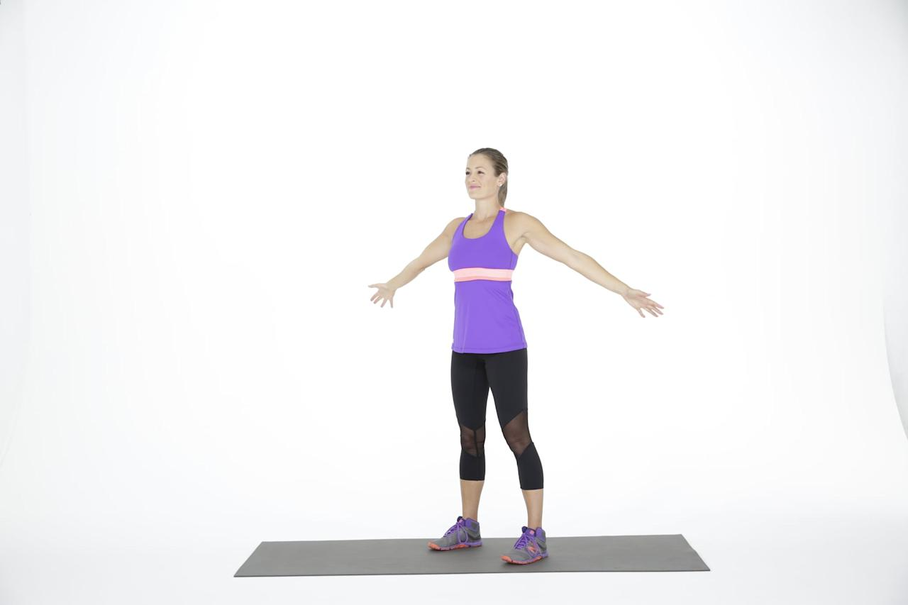 <ul> <li>Stand tall with your feet hip-width apart, wrist weights on your wrists and arms by your sides.</li> <li>Extend your arms out at shoulder height so that they are parallel to the floor.</li> <li>Make a small arm circle forwards, moving both arms at the same time. Keep the circle small and controlled to activate your shoulder muscles. One circle completes one rep.</li> <li>Make 20 small arm circles forward. Then repeat the circles, but moving backwards.</li> </ul>