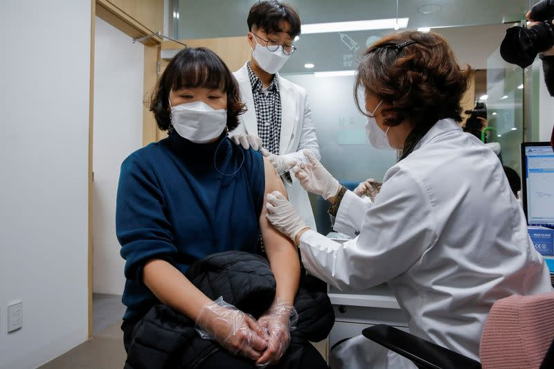 A nursing home worker receives the AstraZeneca COVID-19 vaccine at a health care centre as South Korea starts a vaccination campaign against the coronavirus disease (COVID-19), in Seoul