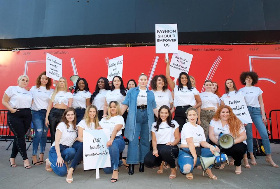 Hayley Hasselhoff (photographed in the middle) led the protests this morning [Photo: Courtesy]