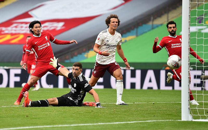 Takumi Minamino scored Liverpool's only goal in the Community Shield - GETTY IMAGES