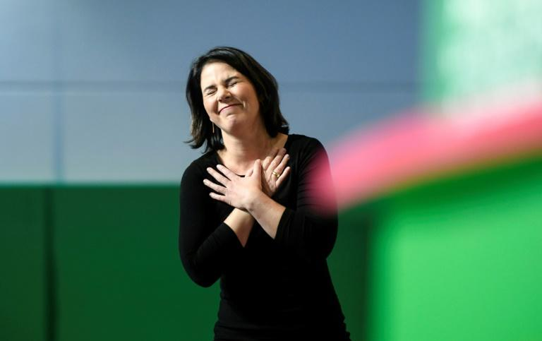 Annalena Baerbock and co-leader Robert Habeck have led the Greens to electoral breakthroughs in both regional and European elections (AFP Photo/INA FASSBENDER)