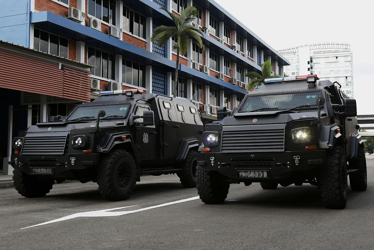 <p>The Armoured Patrol Vehicles used to transport Armed Strike Team personnel from the Gurkha Contingent. (PHOTO: Dhany Osman / Yahoo News Singapore) </p>