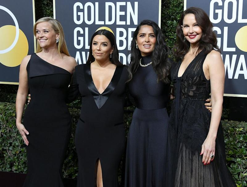 Women wore black in solidarity, including Salma Hayek and Ashley Judd, who have both accused Harvey Weinstein of sexual misconduct. Source: Getty