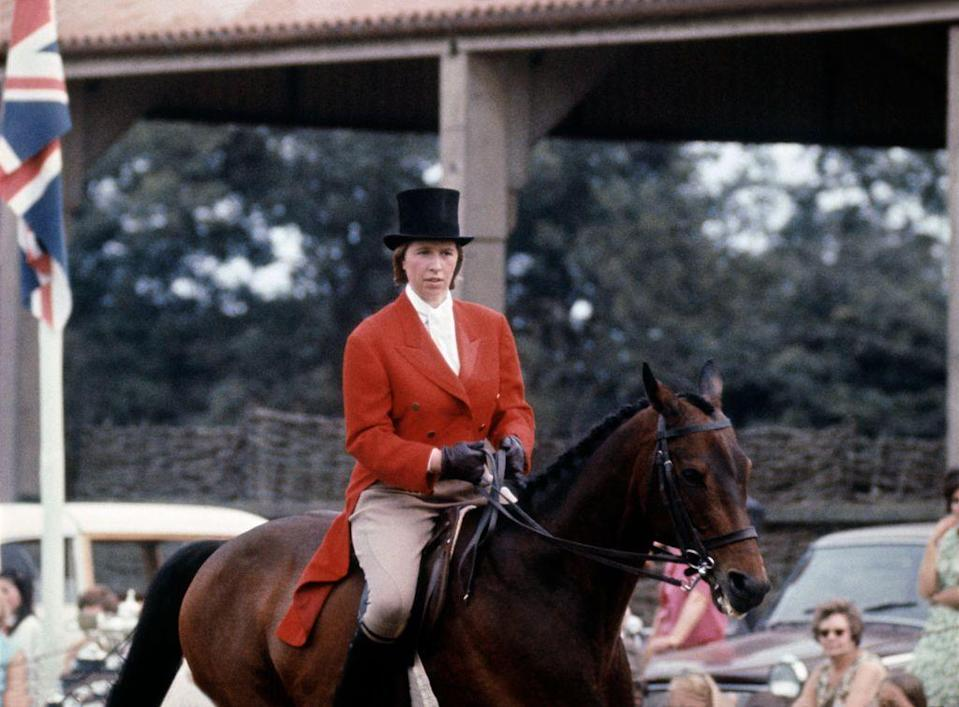 <p>Riding in a horse show.</p>