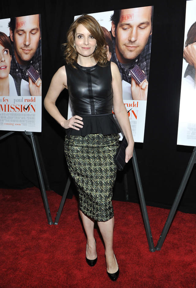 "Tina Fey? In something other than a safe L'Wren Scott or Oscar de la Renta dress? Props to the former ""30 Rock"" star/scribe for stepping outside her comfort zone and into a sleeveless leather top and peplum-enhanced pencil skirt at the NYC premiere of her new rom-com, ""Admission."" (3/5/2013)"