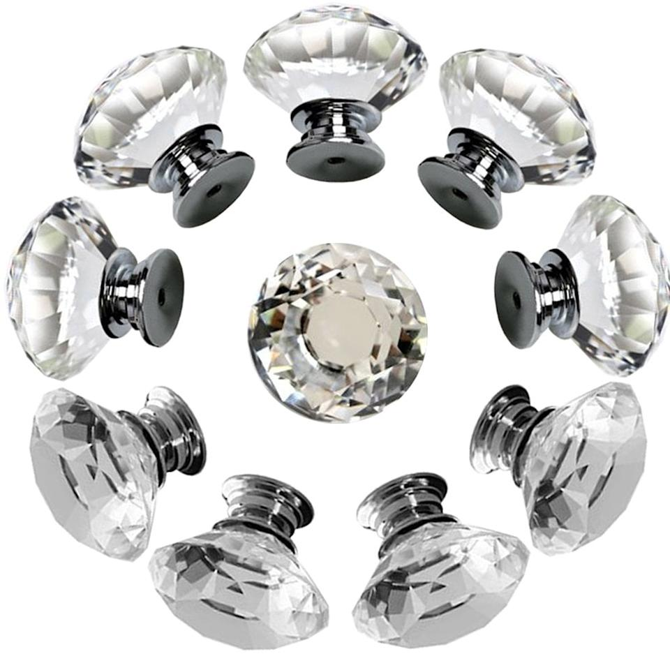 """<p>Replace your drawer handles with these pretty <a href=""""https://www.popsugar.com/buy/Diamond-Shape-Cabinet-Handles-506775?p_name=Diamond%20Shape%20Cabinet%20Handles&retailer=amazon.com&pid=506775&price=13&evar1=casa%3Aus&evar9=46805816&evar98=https%3A%2F%2Fwww.popsugar.com%2Fphoto-gallery%2F46805816%2Fimage%2F46805824%2FThese-Chic-Cabinet-Handles&list1=shopping%2Camazon%2Cdecor%20inspiration%2Cshopping%20guide&prop13=api&pdata=1"""" rel=""""nofollow"""" data-shoppable-link=""""1"""" target=""""_blank"""" class=""""ga-track"""" data-ga-category=""""Related"""" data-ga-label=""""https://www.amazon.com/Drawer-Crystal-Diamond-Cabinet-Cupboard/dp/B01LMZL046/ref=sr_1_19?crid=1GBSR6HAUWJGY&amp;keywords=shabby+chic+decor&amp;qid=1571946231&amp;sprefix=shabby+ch%2Caps%2C167&amp;sr=8-19"""" data-ga-action=""""In-Line Links"""">Diamond Shape Cabinet Handles</a> ($13 for 10), and you'll instantly feel more glamorous.</p>"""