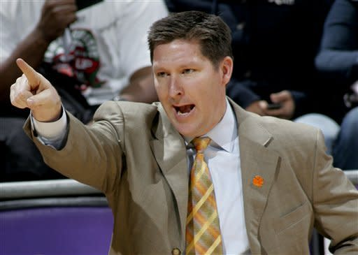 Clemson coach Brad Brownell yells instructions to his team in the first half of an NCAA college basketball game against Florida State on Sunday, March 4, 2012, in Tallahassee, Fla. (AP Photo/Phil Sears)