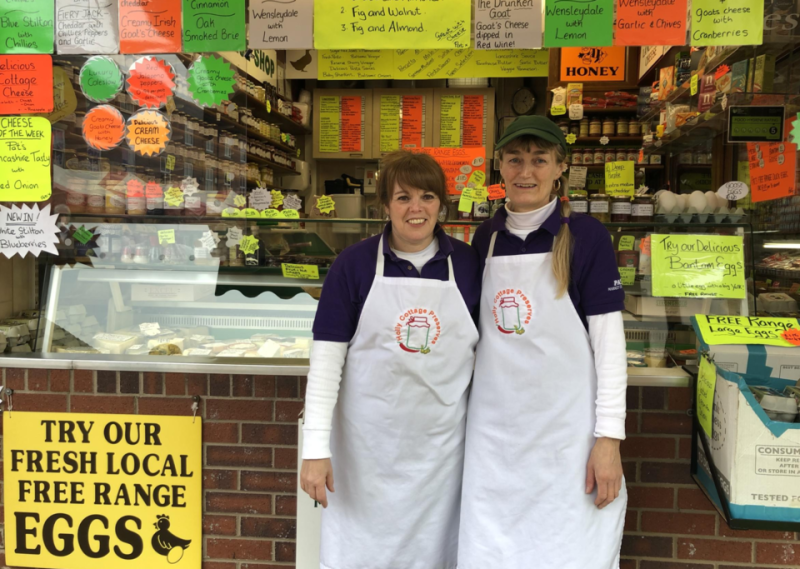 Patricia Catterall and Yvonne Madden at Pat's Market Cheese Shop in Chorley