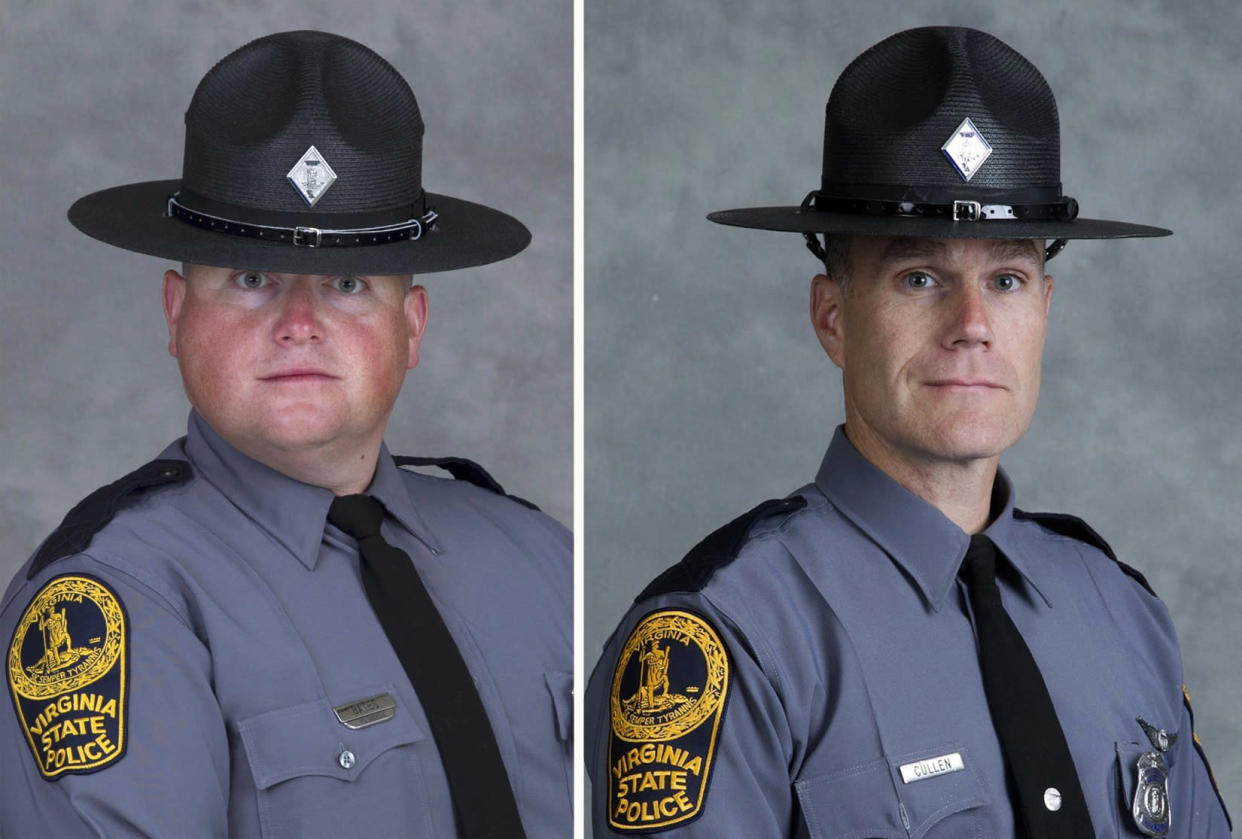 Trooper-Pilot Berke M.M. Bates and Lt. H. Jay Cullen, killed Aug. 12, 2017, when the helicopter they were piloting crashed while assisting public safety resources during clashes at a nationalist rally in Charlottesville, Va. (Photo: Virginia State Police via AP)