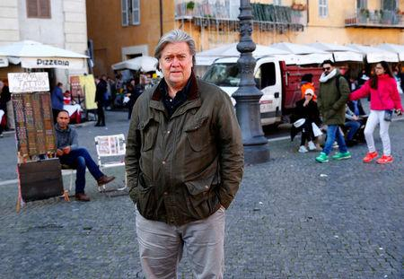 FILE PHOTO: U.S. President Trump's former chief strategist Bannon walks in Piazza Navona in Rome