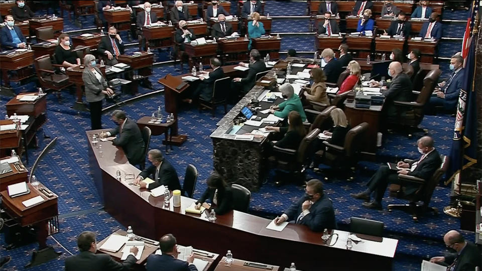 U.S. Senate votes during former President Donald Trump's second impeachment trial. (Reuters Video)