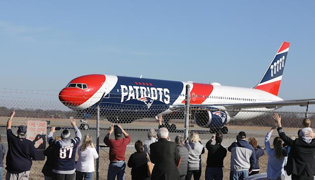 The Patriots' plane in a 2019 file photo. (Photo by Pat Greenhouse/The Boston Globe via Getty Images)