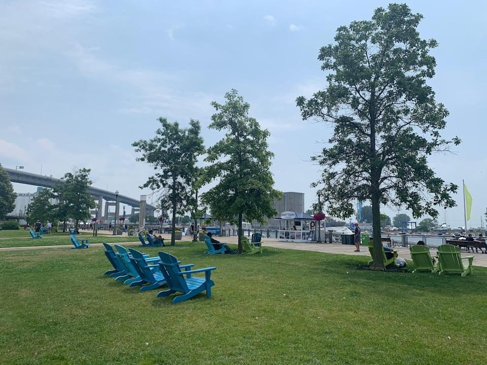 shot of a patch of lawn with chairs at canalside in buffalo new york