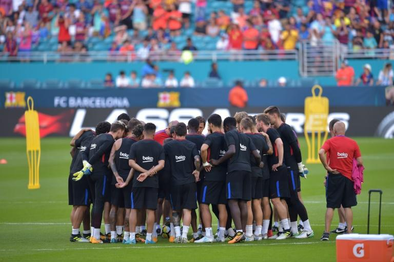 Barcelona's players take part in a training session at Hard Rock Stadium in Miami, Florida, on July 28, 2017